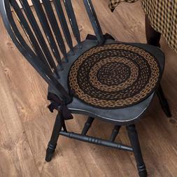 """15"""" Farmhouse Black & Tan Chair Pad, Braided Jute, Round Pad"""