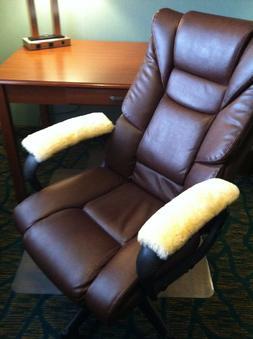 """15"""" long Pair Merino Sheepskin Armrest Pads for Office & Whe"""