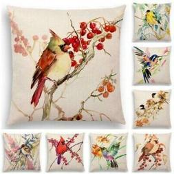 """18""""x18""""Linen Pillow Case Cute Birds Hummingbird Flowers Sofa"""
