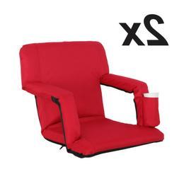 2 Pack Portable Stadium Seat Cushion Chair for Bleacher w/ W