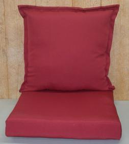 2 Pc Outdoor Deep Seat Cushion Set ~ Brick Red ~ 22x22x6 / 2