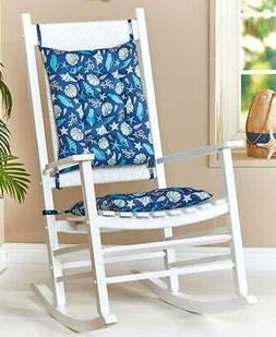 2-PC SEASHELLS ROCKING CHAIR BACK AND SEAT CUSHION SET WITH