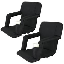2 PCS Black Stadium Seat Bleacher Chair Cushion - 5 Reclinin