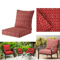 2pc Ruby Red Deep Seat Cushion Set Patio Chair Cover Deck Ou