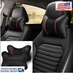 2x pu leather knitted car pillows headrest
