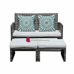 3 piece Outdoor Wicker Loveseat Sofa Furniture Set with Otto