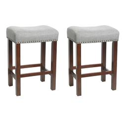 Set of 2 Bar Stools Kitchen Dining Room Saddle Seat Linen Pa