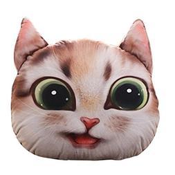Sothread 3D Cat Stuffing Throw Pillow Plush Toy Doll Decor F