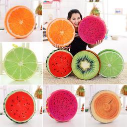3D Fruit Soft Round Pillow Plush Cushion Orange Watermelon S