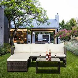 3pcs rattan patio furniture set lawn sofa