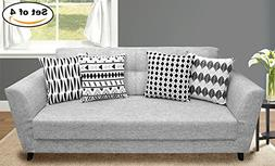 4 Packs Throw Pillow Cases - Cotton Canvas Sofa & Bed Home D