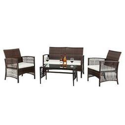 4 PC Rattan Patio Furniture Set Garden Lawn Sofa Cushioned S