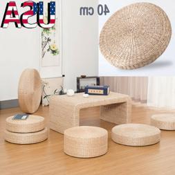 40cm Round Pouf Tatami Floor Pillow Seat Cushion Straw Medit