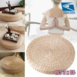 40cm6cm straw floor round pouf pillow yoga