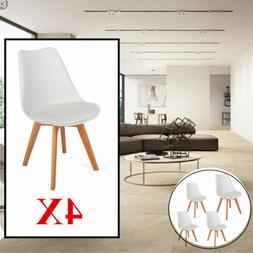 4x Modern Simple Solid Wood Foot Soft Padded Plastic Chair f