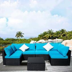 7PC Patio Wicker Sofa Rattan Set Garden Furniture Sectional
