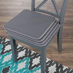 Lavish Home 82-TEX1044DGY Chair Cushions-4 Set Square Foam x