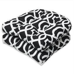 Pillow Perfect Outdoor New Geo Wicker Seat Cushion, Black/Wh