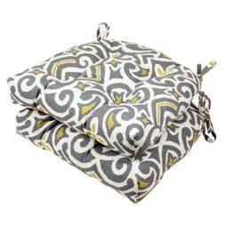 Pillow Perfect Yellow Damask Reversible Chair Pad, Gray/Gree
