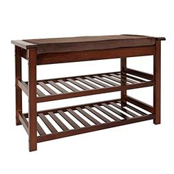 UNICOO - Antique Style Bamboo Shoe Bench Rack with Cushion U
