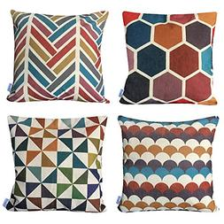 WOMHOPE 4 Pack -  18 x 18 Inch Colorful Geometric Cotton Lin