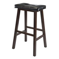 Winsome Mona 29-Inch Cushion Saddle Seat Stool, Black, Faux