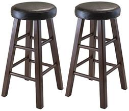 Winsome Wood Marta Assembled Round Counter Stool with PU Lea