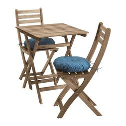 IKEA ASKHOLMEN Table + 2 chairs Outdoor Gray Brown Stained 4