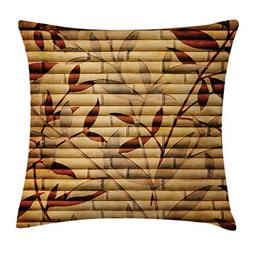 Ambesonne Beige Decor Throw Pillow Cushion Cover, Bamboo Ste