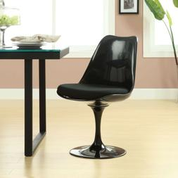 Black Eero Saarinen Style Tulip Side Chair with Black Cushio