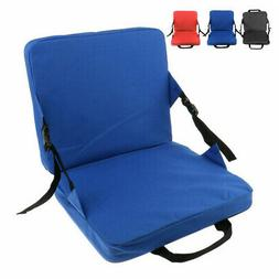 Black Folding Stadium Seat Back Chair Bum Cushion Padded Ble