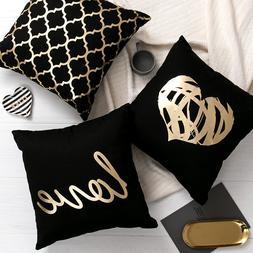 Black Golden Leaves <font><b>Cushion</b></font> Brozing Gold