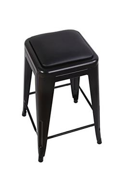 "GIA Black 24"" Metal Stool with Black Leather Cushion - Count"