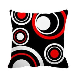 DKISEE Black White and Red Circle Pattern Decorative Cushion
