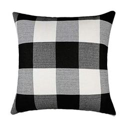 Black White Retro Checkers Plaids Linen Square Throw Pillow