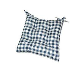 blue plaid ginghamtufted seat cushion for kitchen