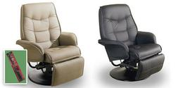 Recliner Tan or Black Swivel Seat Captains Chair RV Travel T