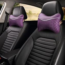 Follicomfy 2PCS Car Neck Pillow with Memory Foam Auto Breath