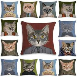 Cat Pug Pattern Cushion Cover Cotton Pillow Cases Sofa Chair