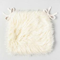 Chair Pad Faux Sheepskin Ivory Fur with Ties Kitchen Dining