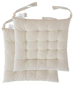 "Cottone 100% Cotton Chair Pads w/Ties  | 16"" x 15"" Squar"