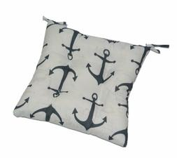 Chair Seat Cushion w/Ties - Tufted - Charcoal Gray Anchors N