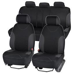 Charcoal Trim Black Car Seat Covers Full 9pc Set - Sleek Sty