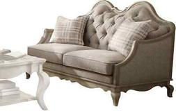 ACME Chelmsford Beige Fabric and Antique Taupe Loveseat with