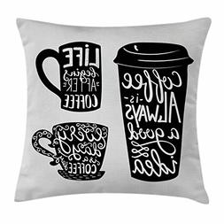 Ambesonne Coffee Throw Pillow Cushion Cover, Quotes About Co