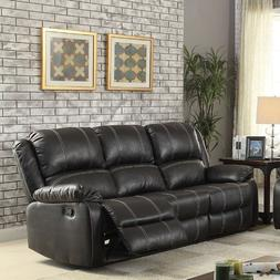 Contemporary Look Black Color Plush Back Cushions Sofa Love