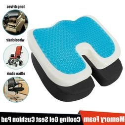 Cooling Gel Seat Cushion Memory Foam Coccyx Car Plane & Chai