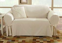 Sure Fit Cotton Duck Loveseat Slipcover  Natural Box Style S