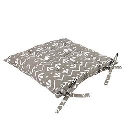 Icrafts India Aheli Grey Cotton Chair Pad - Seat Cushion 14.