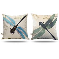 ONWAY Outdoor Dragonfly Decor Blue and Green Dragonfly Pillo